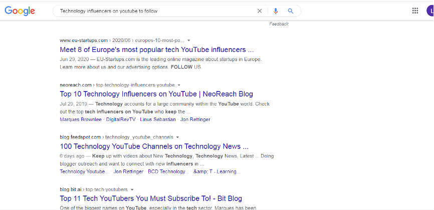 search on google
